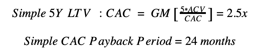 Simple CAC payback period calculation